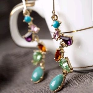 Betsey Johnson a colorful Crystal Gem Earrings